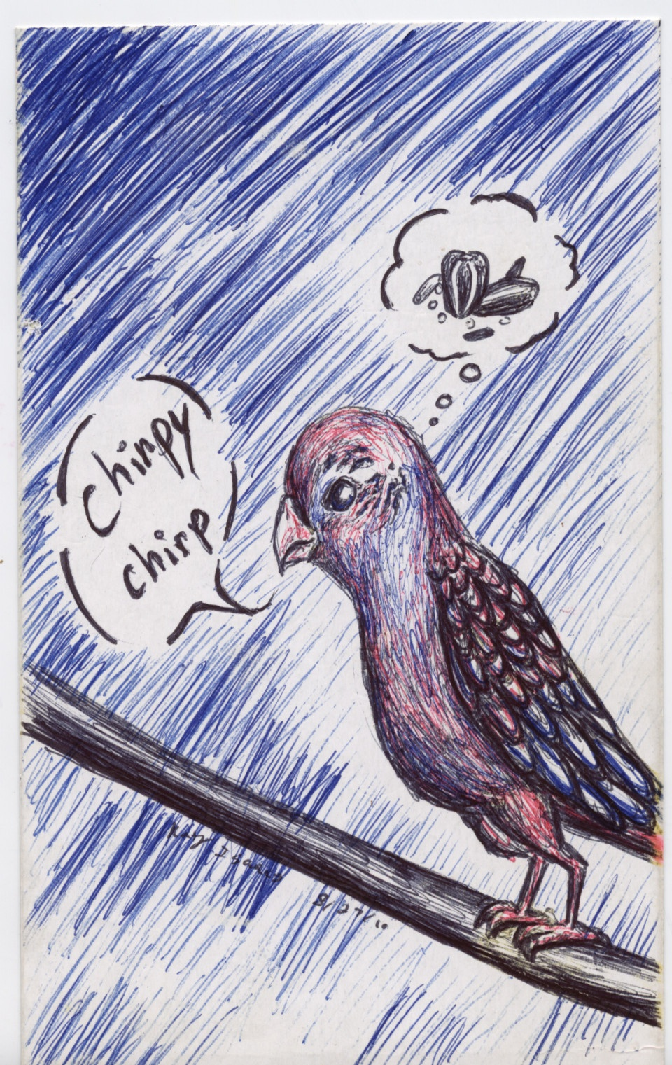 Chirp. Ball point pen on paper
