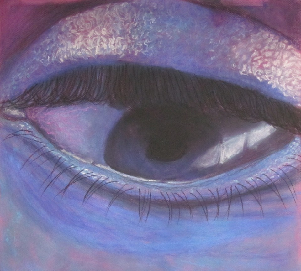 Eye. pastel on Fuscia colored paper